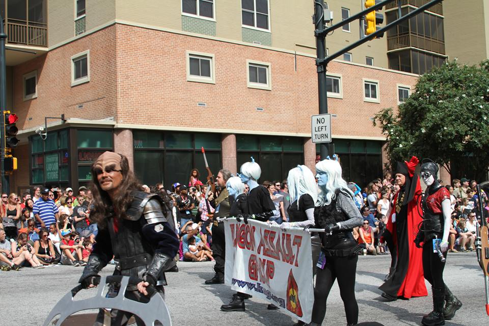 Holding the KAG banner in the Dragon Con 2013 parade. Photo from Collider.com.