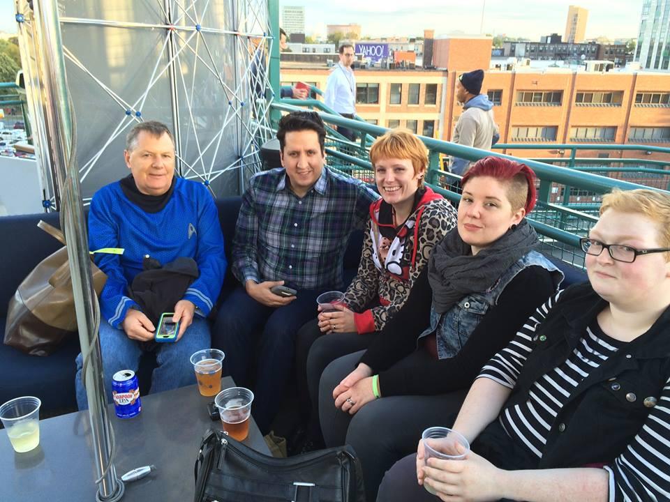 John as a Feddie, with Vyrian, Vynni, Ell, and Aramie at the Bud Deck Bar